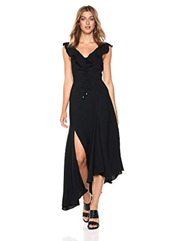 ccb37cb211d5 C meo Collective. Women s Black Questions Ruffle Sleeve Scoop Neck Gown  With Slit