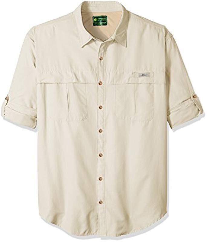 3f65aebc0b5 G.H.BASS. Men's Natural Big And Tall Explorer Survivor Long Sleeve Point  Collar Fishing Shirt