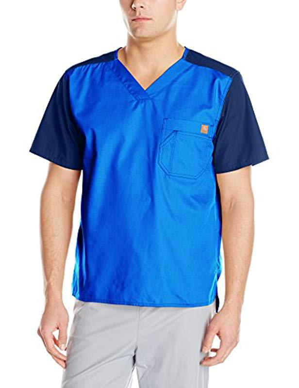 7bf4ddbe547 Lyst - Carhartt Ripstop Color-block Utility Scrub Top in Blue for ...