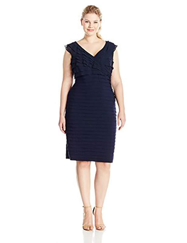 5444c78b Lyst - Adrianna Papell Plus-size Shutter Jersey And Chiffon Dress in ...