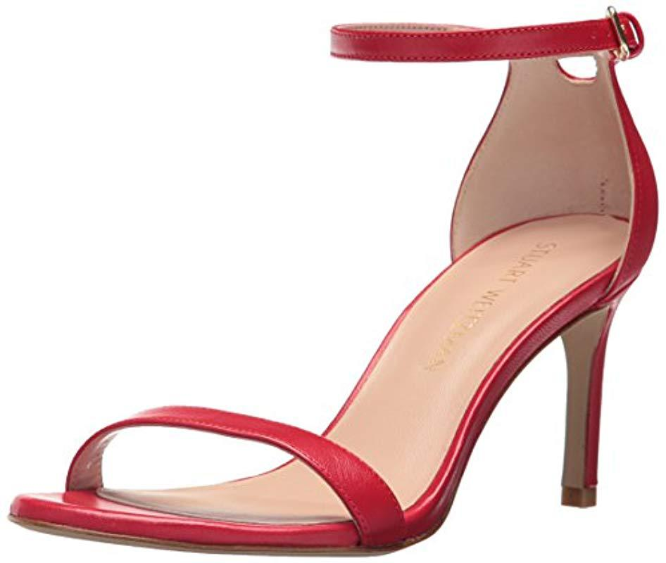 9d107d0743 Stuart Weitzman Nunakedstraight Heeled Sandal in Red - Save 65% - Lyst