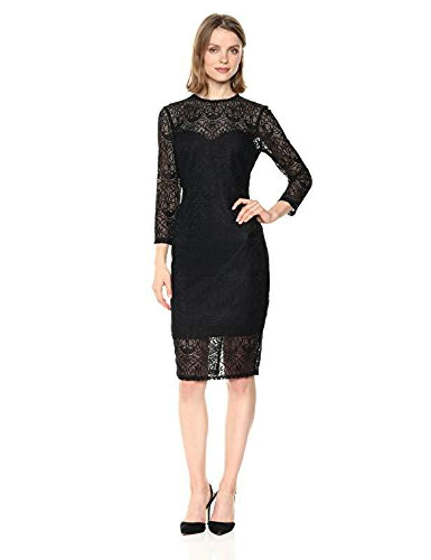 77bc2211a7 Lyst - Guess Black Lace Dress in Black - Save 47%