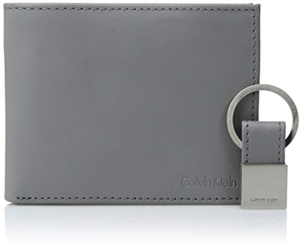 cdd34e2f86263 Calvin Klein - Gray Rfid Blocking Leather Bifold Wallet With Key Fob for Men  - Lyst. View fullscreen