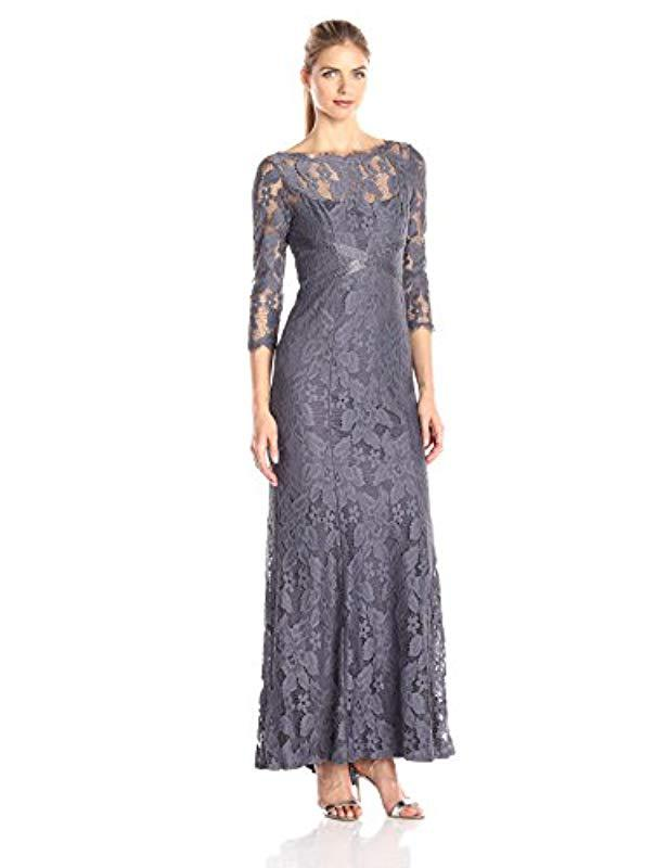 7c07199dd3997 Lyst - Adrianna Papell Lace Gown With Beaded Banding - Save 15%