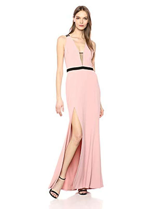 027db83e Lyst - Dress the Population Lana Plunging Long Mermaid Solid Crepe ...