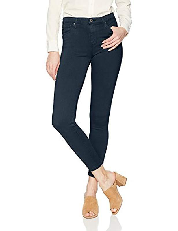 daaf8ebd4990 Lyst - AG Jeans Sateen Farrah High Rise Skinny Ankle in Blue