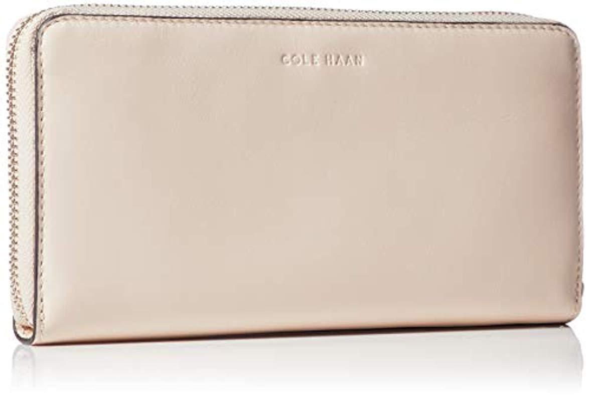 92ccb85a15 Cole Haan - Natural Kaylee Continental Zip Around Leather Wallet - Lyst.  View fullscreen