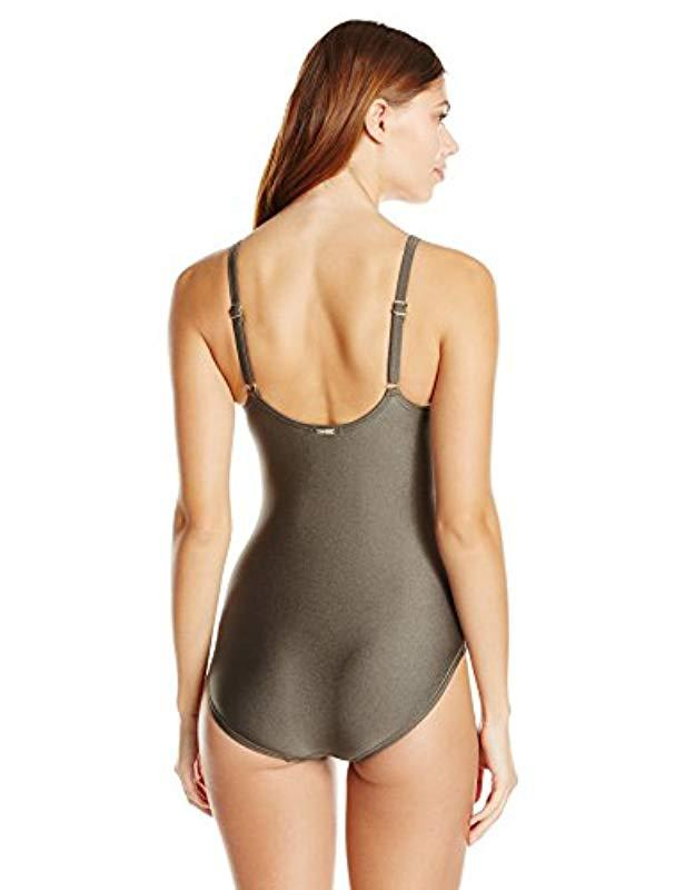 33f7cd676678d Lyst - Calvin Klein Over The Shoulder Draped Starburst One Piece Swimsuit  With Removable Soft Cups, in Green - Save 19%