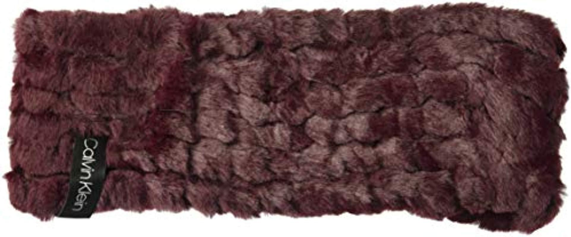 de8d99451ff Calvin Klein - Purple Knit Faux Fur Headband - Lyst. View fullscreen