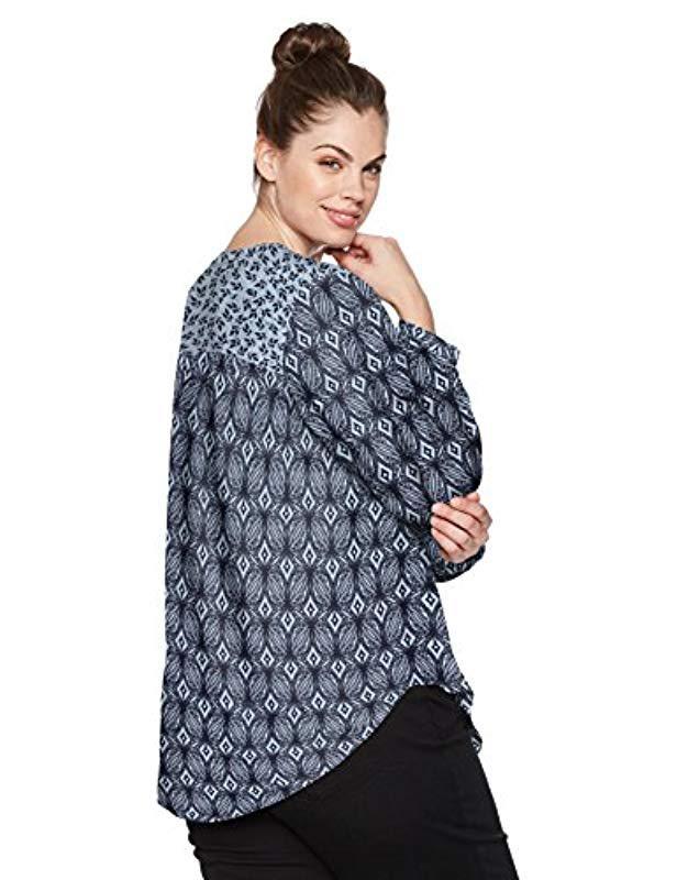 996ed53f4b Lyst - Nydj Plus Size Print Mix Peasant Top in Blue - Save  40.816326530612244%