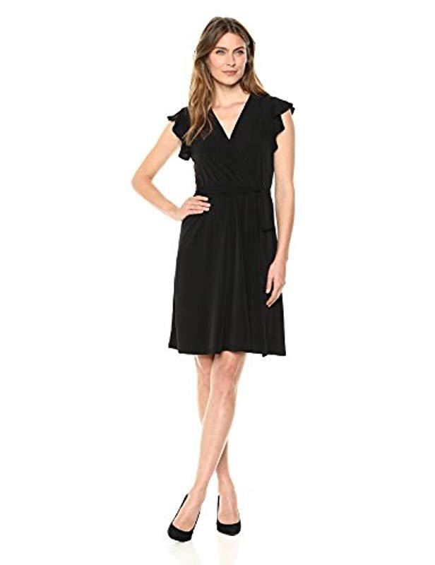 2442368e044 Ivanka Trump Cap Flutter Sleeve Wrap Dress in Black - Save 66% - Lyst