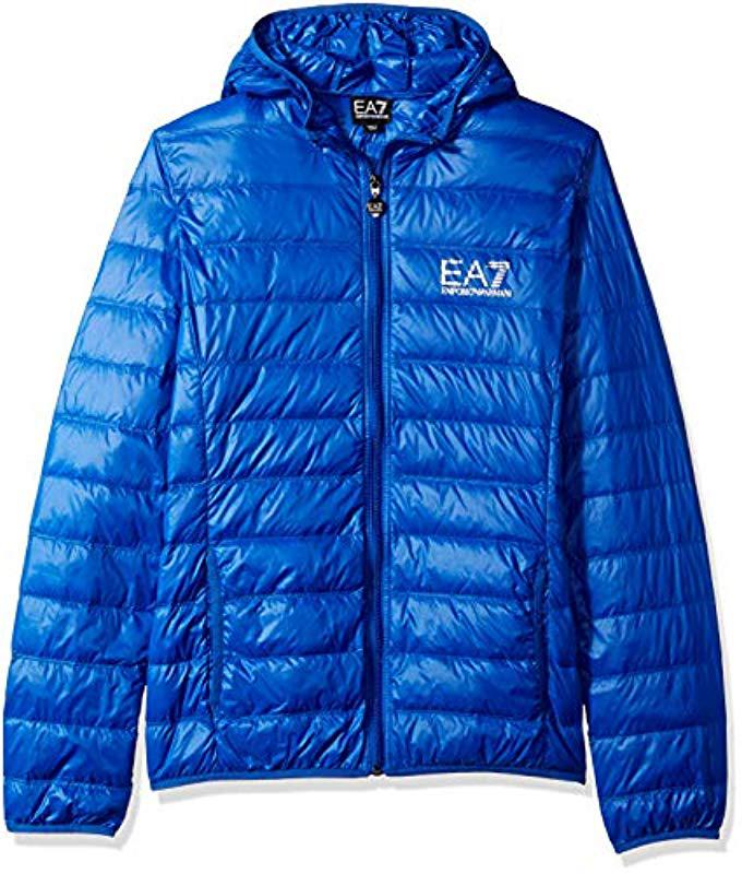 7837594a Lyst - Emporio Armani Train Core Id Down Light Hoodie Jacket in Blue ...