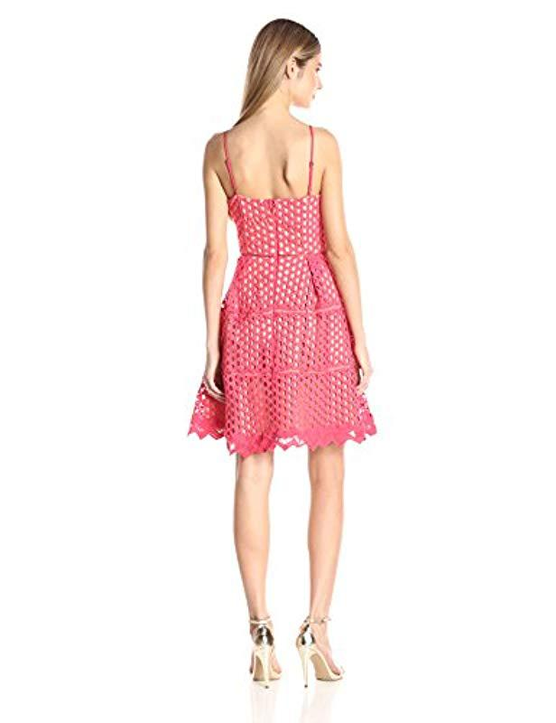 b44938517dc2b Lyst - Adelyn Rae Lace Fit And Flare Dress in Pink - Save 46.31578947368421%