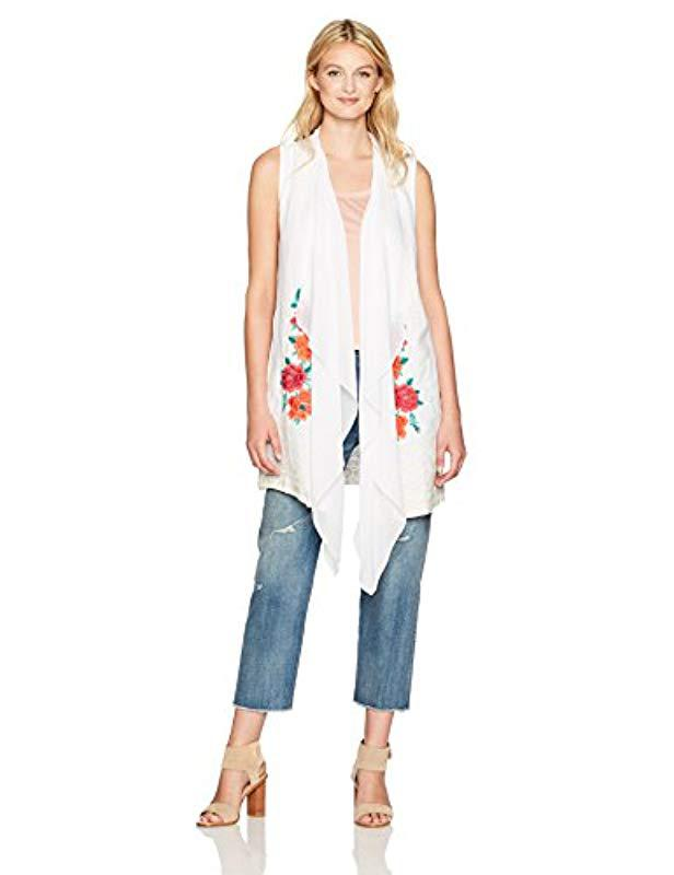 a843bf794 Lyst - Johnny Was Selena Handkerchief Vest in White
