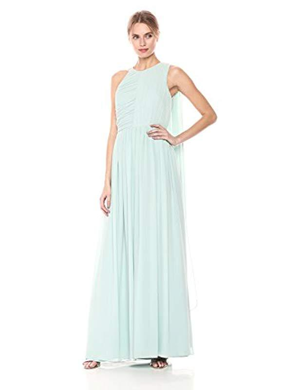 cf1be82790fd Lyst - Halston Sleeveless Plisse Fortuny Gown With Back Drape in Blue