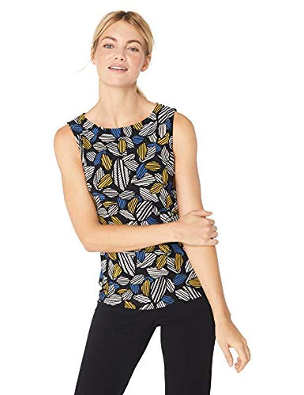 e36d55428f582 Lyst - Anne Klein Printed Side Twist Top in Black
