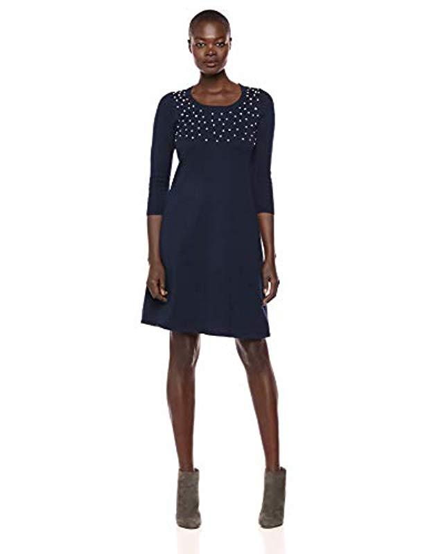 8229ce5d841 Lyst - Nine West 3 4 Sleeve Sweater Dress With Pearl Details in Blue