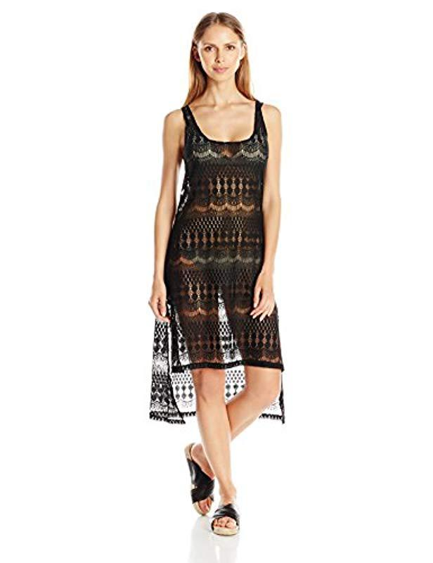 ad18285f1b8 Lyst - Gottex Crochet High Low Beach Dress Swimsuit Cover Up in Black -  Save 53%