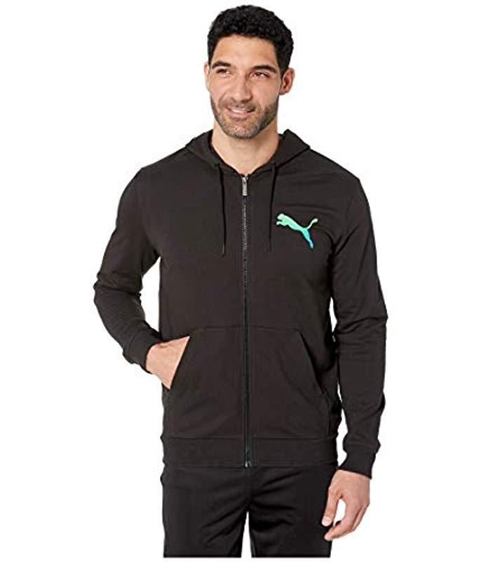 PUMA Summer Logo Full Zip Hoodie in Black for Men Lyst