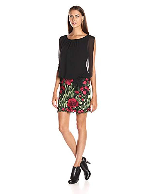 c24a1468846 Aidan By Aidan Mattox. Women s Sleevless Chiffon Blousson Cocktail Dress  With Embroidered Floral Lace Skirt