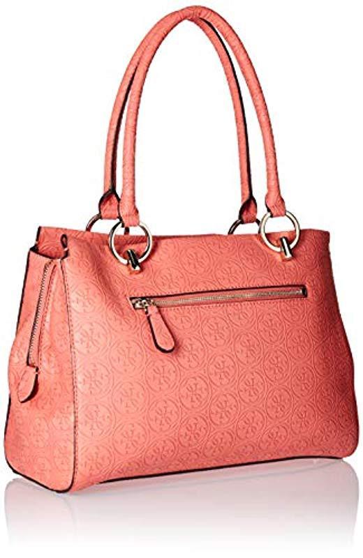 10feb3170fae Guess - Pink Heritage Large Girlfriend Satchel - Lyst. View fullscreen