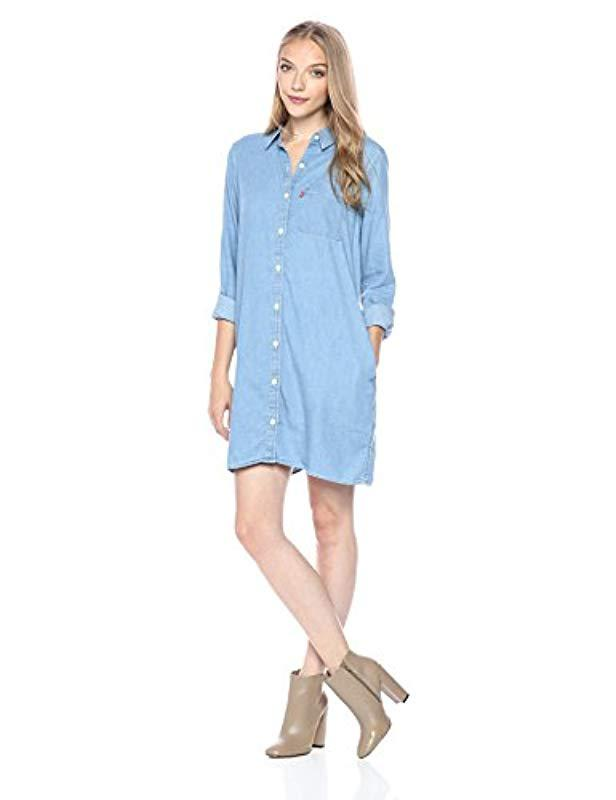 2422e7ff88 Lyst - Levi S Zarina Shirt Dress in Blue