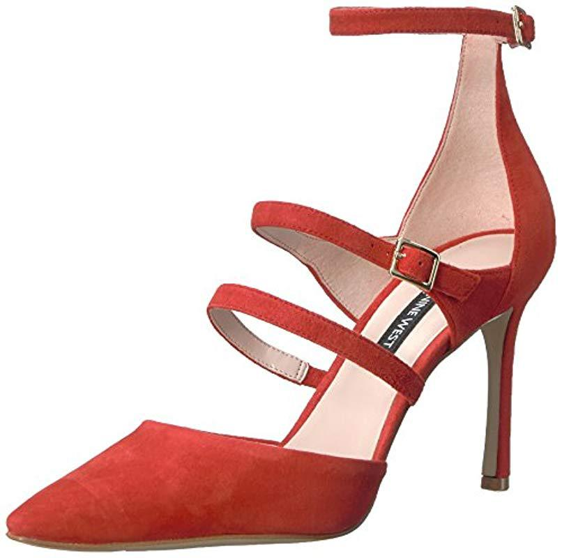 824ff02a5df8 Lyst - Nine West Enchanting Suede Heeled Sandal in Red - Save 1%