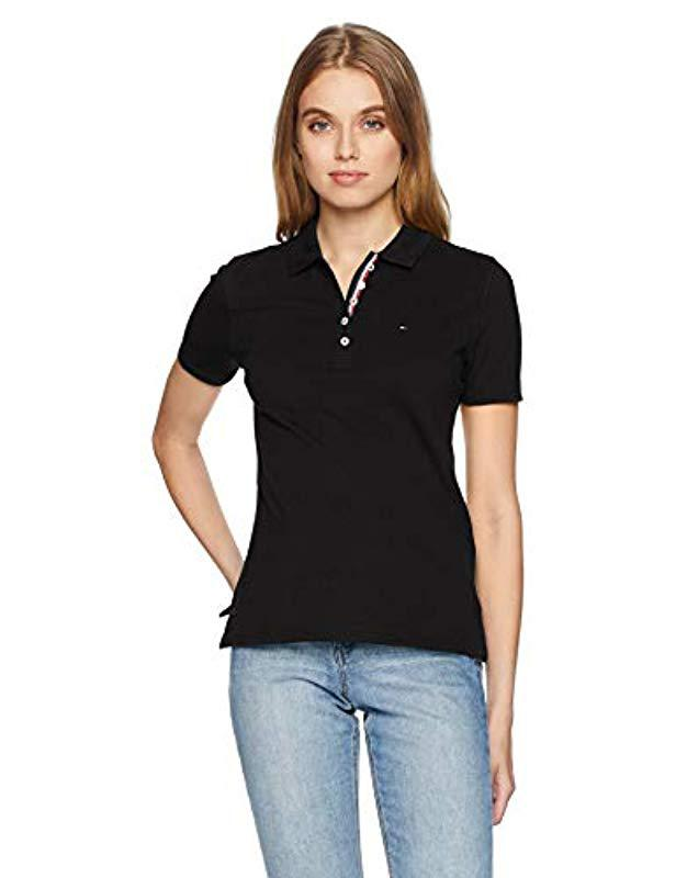 973a9a2b Tommy Hilfiger. Women's Black Polo Shirt Original Flag With Short Sleeves