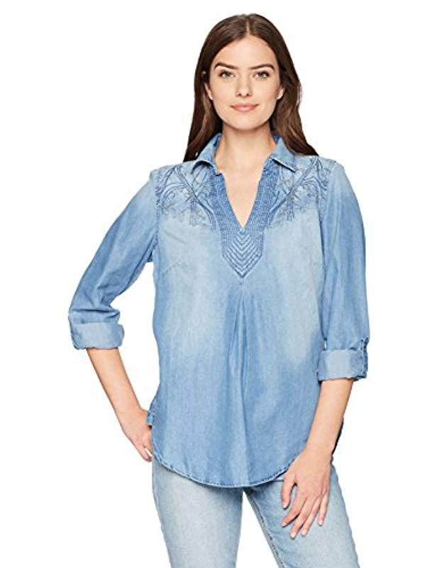 18eff8c32002a3 Lyst - Bandolino Franny Pull Over Shirt With Roll Sleeves in Blue ...