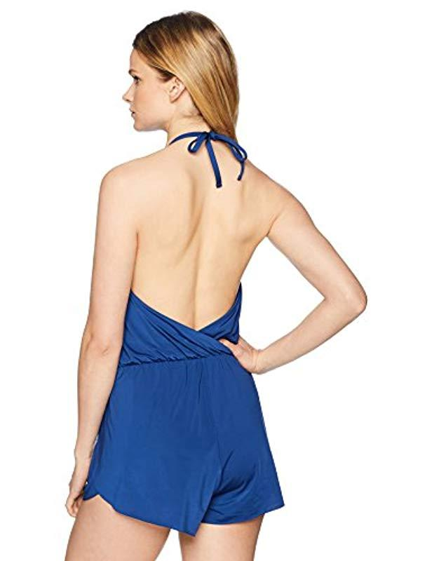 9ef07c90428 Lyst - Kenneth Cole Reaction Reaction Kenneth Cole 2-in-1 Swimsuit Romper  in Blue - Save 27%