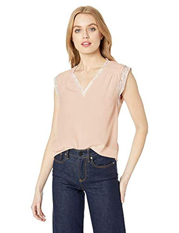 8045918205b03c Lyst - Rebecca Taylor Sleeveless Silk Top With Lace in Natural