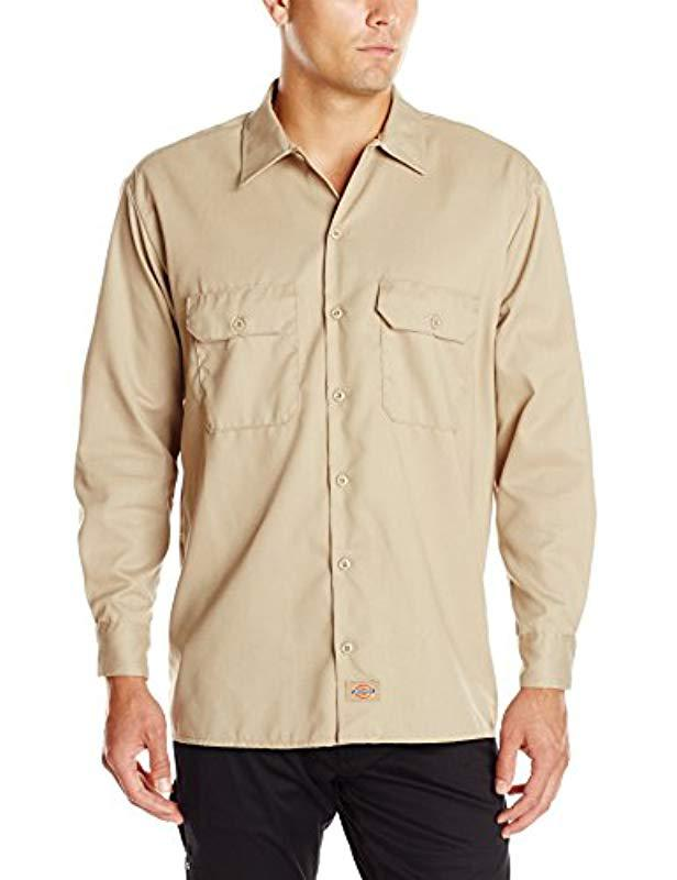 ac4d00f62ba4ee Lyst - Dickies Long Sleeve Flex Twill Work Shirt in Natural for Men ...