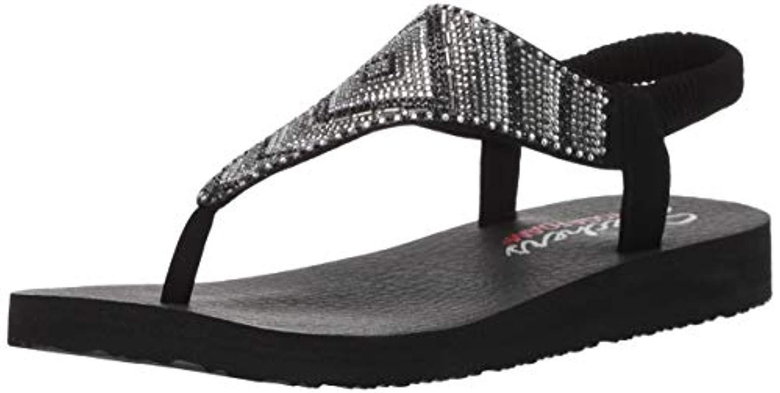 32b08c39417 Skechers. Women s Black Meditation-gypsy Glam-hooded Aztec Rhinestone  Slingback Thong Flip-flop