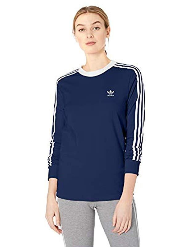 5d0e85511b817 Lyst - adidas Originals 3-stripes Long Sleeve Tee in Blue