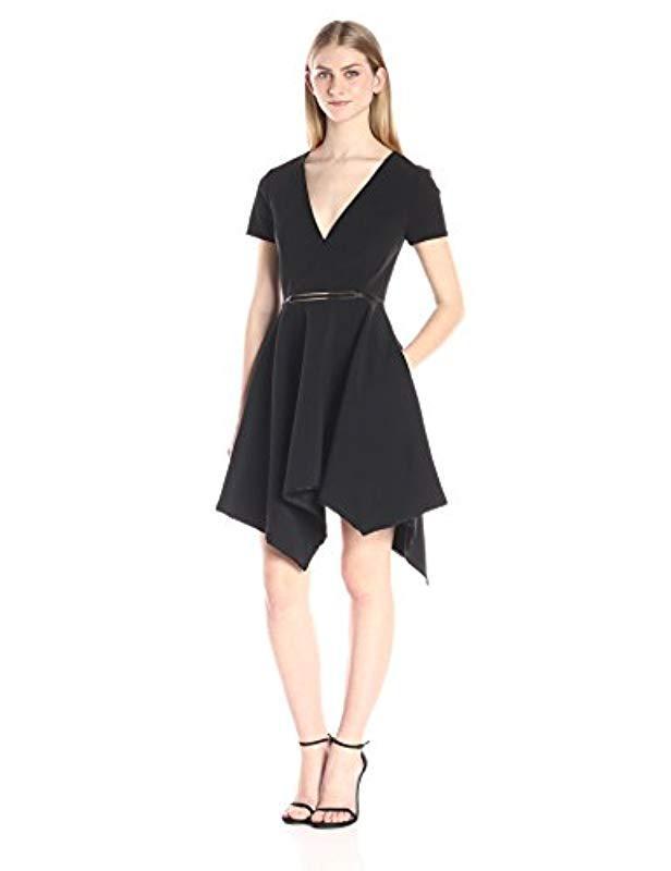 2c1ab74252a Lyst - Halston Short Ss V Neck Strcture Dress W Asym Skirt   Oval ...