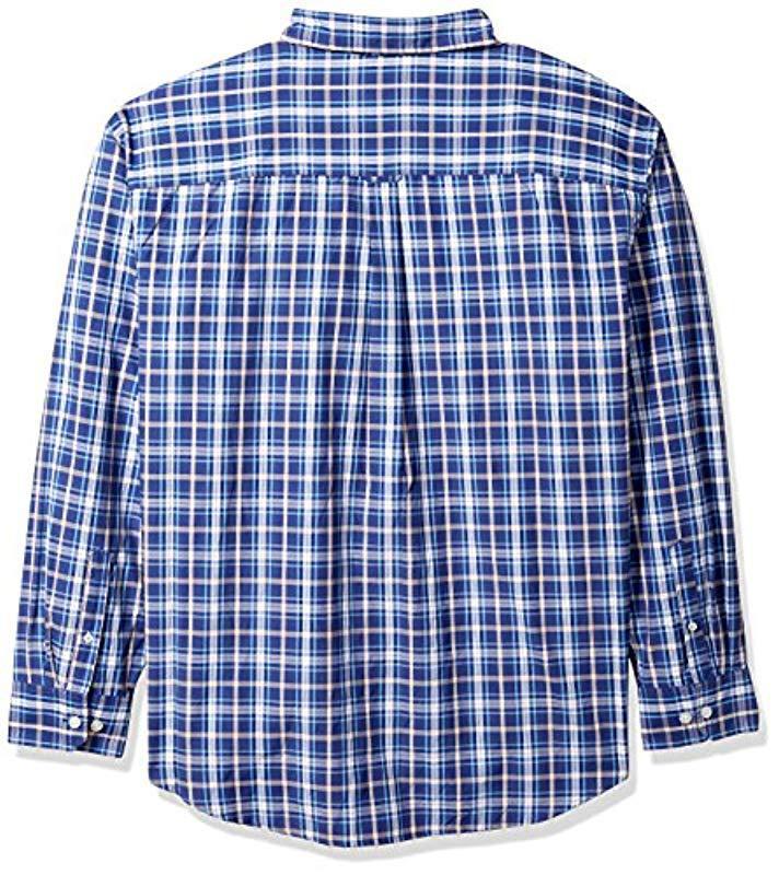 c3791c0fbbe Izod - Blue Breeze Plaid Long Sleeve Shirt (big And Tall) for Men -. View  fullscreen