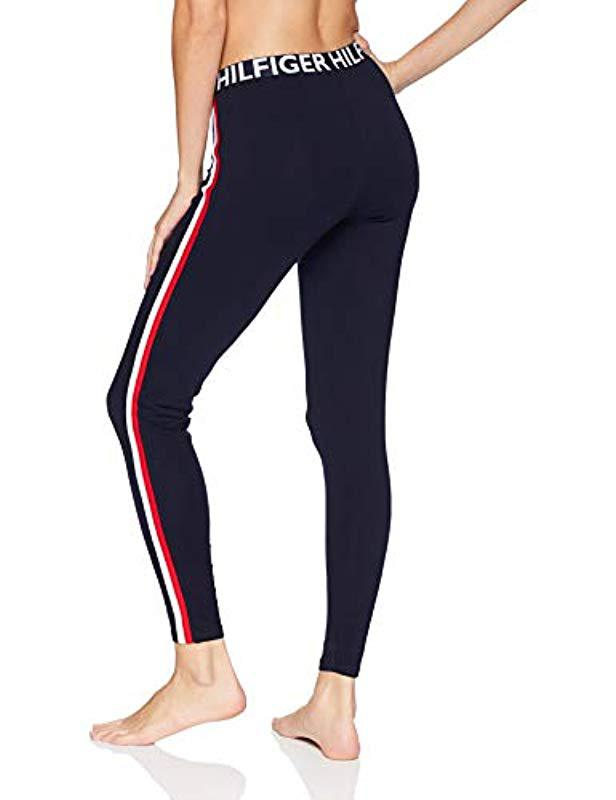 1fe77bc5f5e23 Lyst - Tommy Hilfiger Retro Style Hilfiger Logo Graphic Leggings Pant  Lounge Pj in Blue