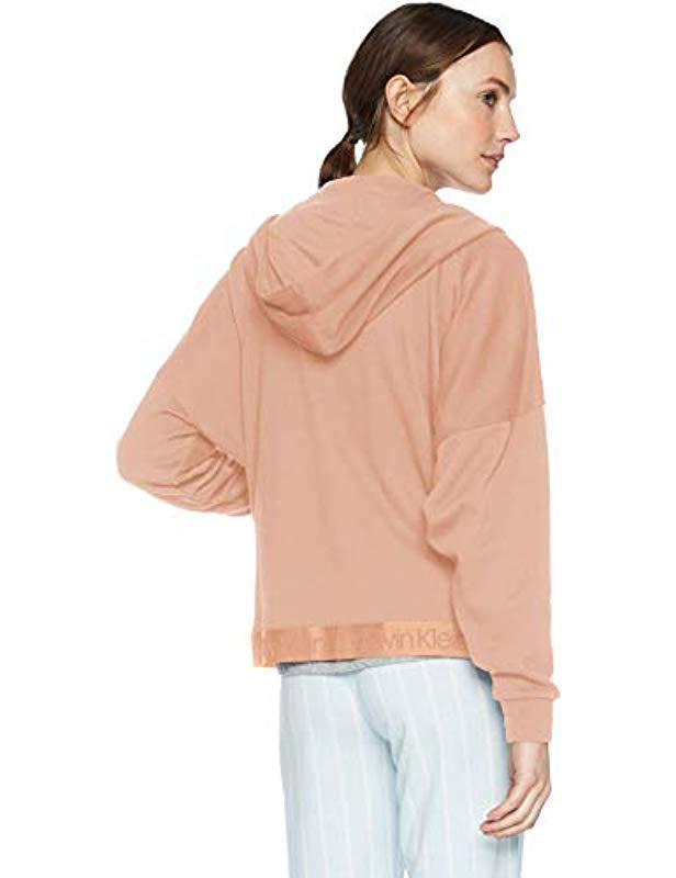 61becd63cb Lyst - Calvin Klein Tonal Logo Lounge Full Zip Hoodie