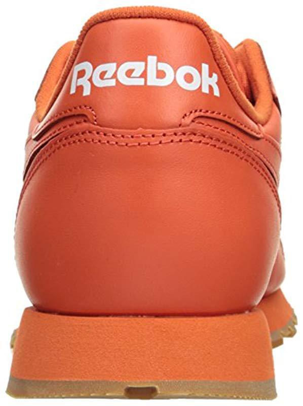 Reebok - Orange Cl Lthr Gum Cu Fashion Sneaker for Men - Lyst. View  fullscreen 217ab0088