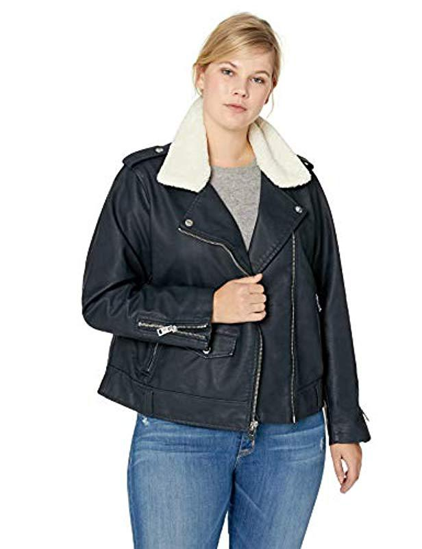 235af3783b6 Lyst - Levi s Plus Size Faux Leather Sherpa Motorcycle Jacket in Blue