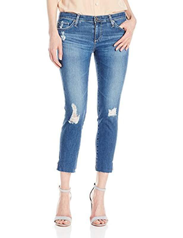 0678c3857e93d9 Lyst - AG Jeans Stilt Crop Cigarette Leg Jean in Blue