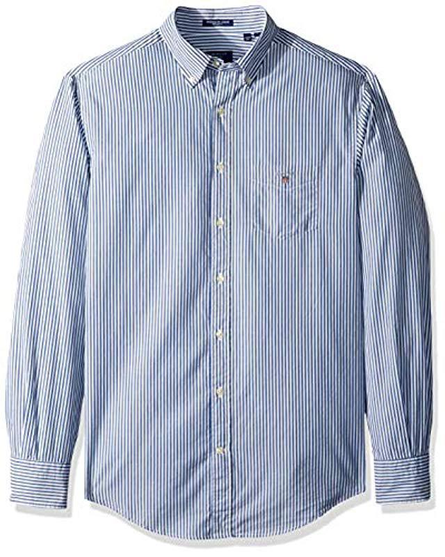 937209642 Gant - Blue The Broadcloth Banker Stripe Regular Fit Button Down Shirt for  Men - Lyst. View fullscreen