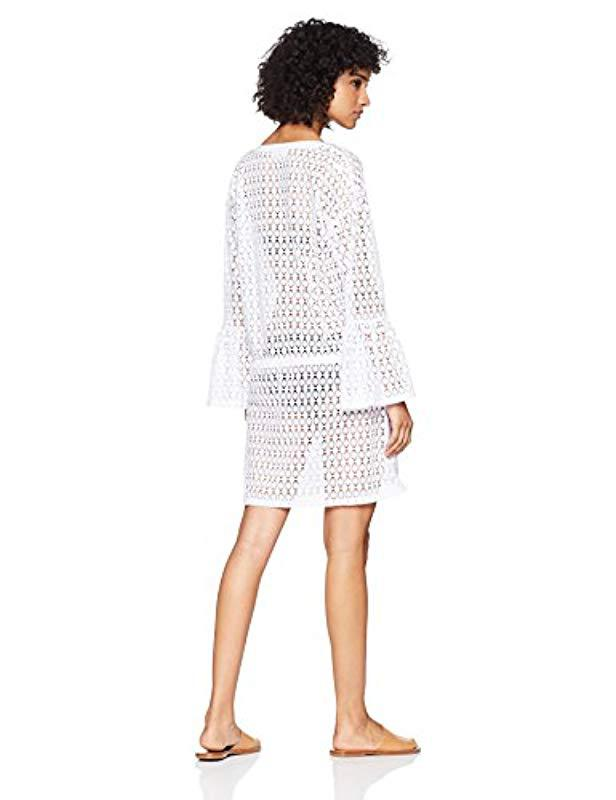 c9301f1c54e36 Lyst - Calvin Klein Crochet Swimsuit Cover Up Tunic With Bell Sleeve in  White - Save 62%