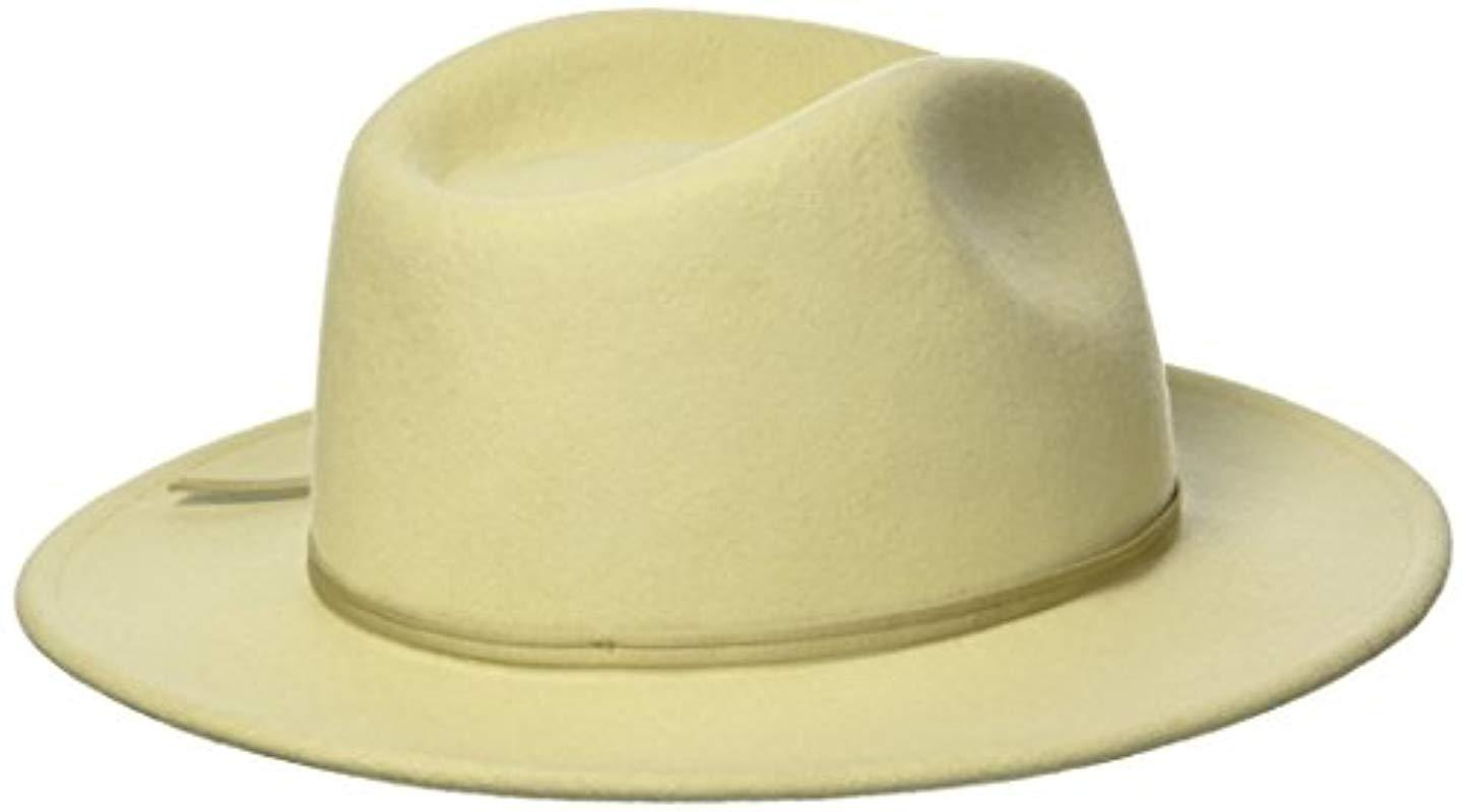 Lyst - Brixton Coleman Medium Flat Brim Felt Fedora Hat for Men ... ccba26daf226