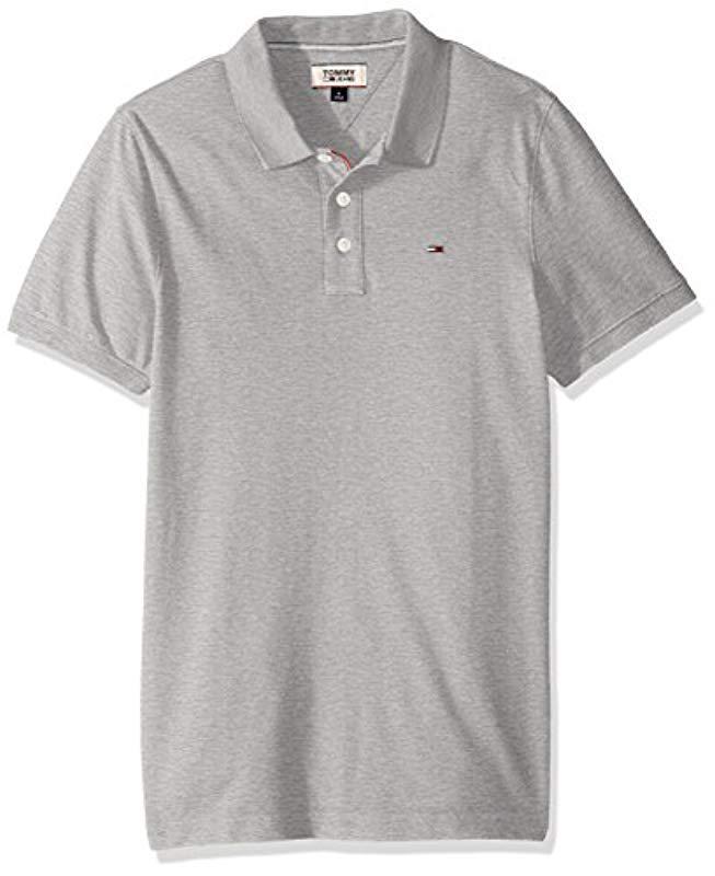 1dfa8cfc Tommy Hilfiger. Men's Gray Polo Shirt Slim Fit Original Flag With Short  Sleeves