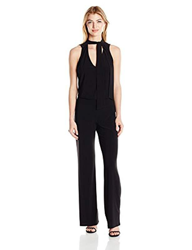 54e5ec6d647 Lyst - Laundry By Shelli Segal Neck Tie Jumpsuit in Black - Save ...