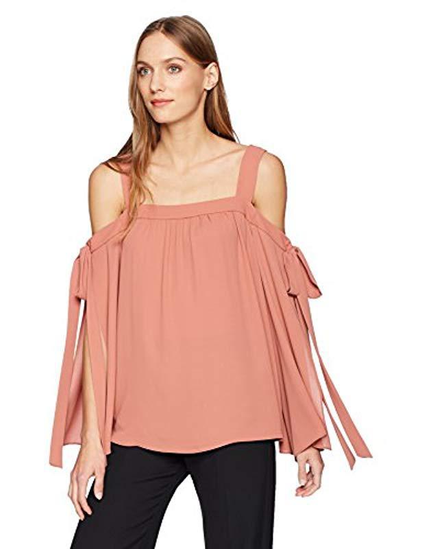 965998f919e667 Lyst - BCBGMAXAZRIA Jordan Cold-shoulder Top in Pink