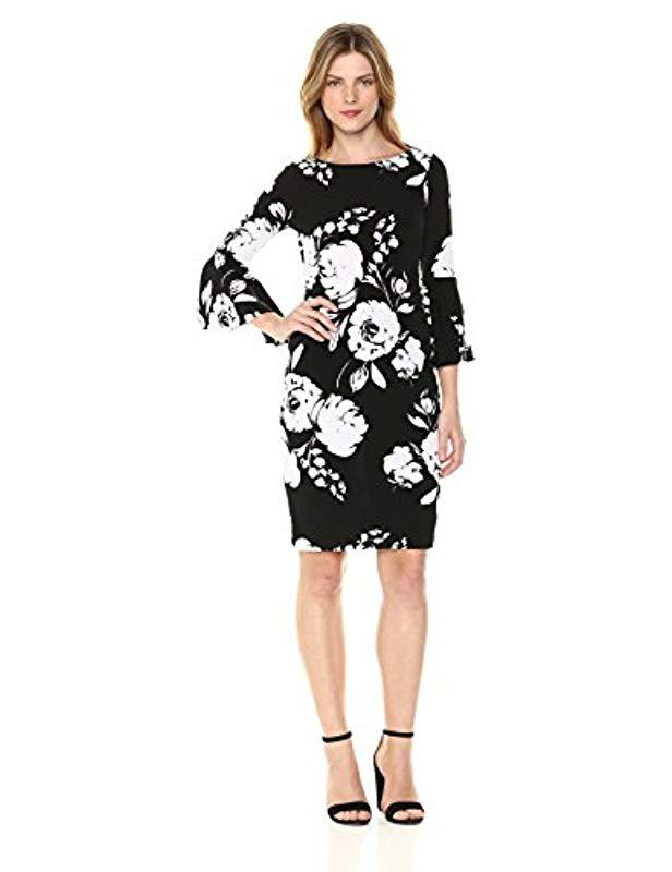 76cc0a041837 Lyst - Calvin Klein Jersey Bell Sleeve Sheath Dress in Black