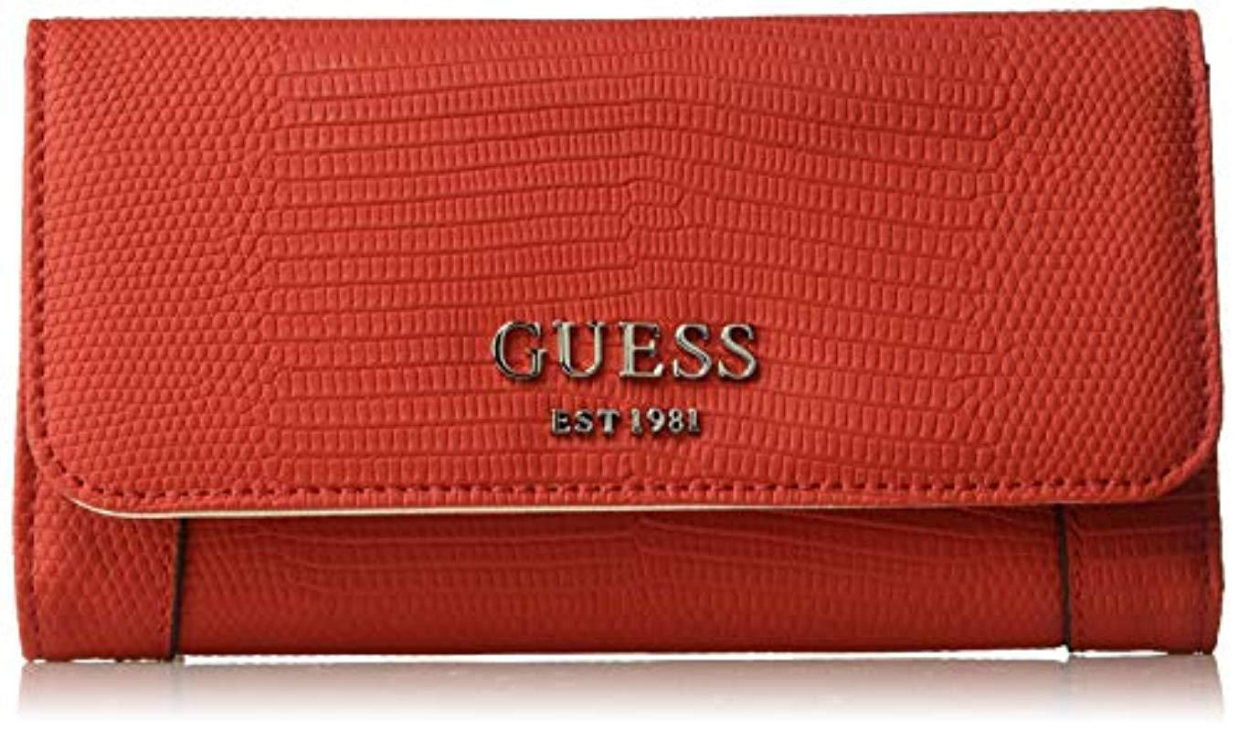 Lyst - Guess Shawna Lizard Slim Clutch Wallet in Red 3ad37a5cb3