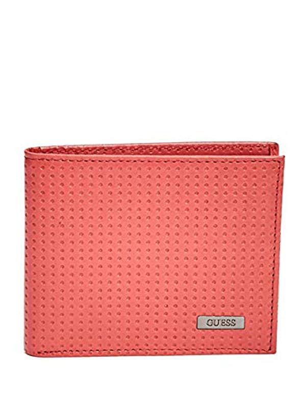 Lyst - Guess Leather Slim Bifold Wallet in Red for Men 45a084c437